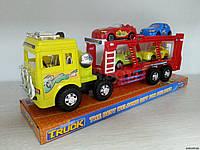 Машина грузовик - автовоз трейлер с 4 машинками 3311, фото 1