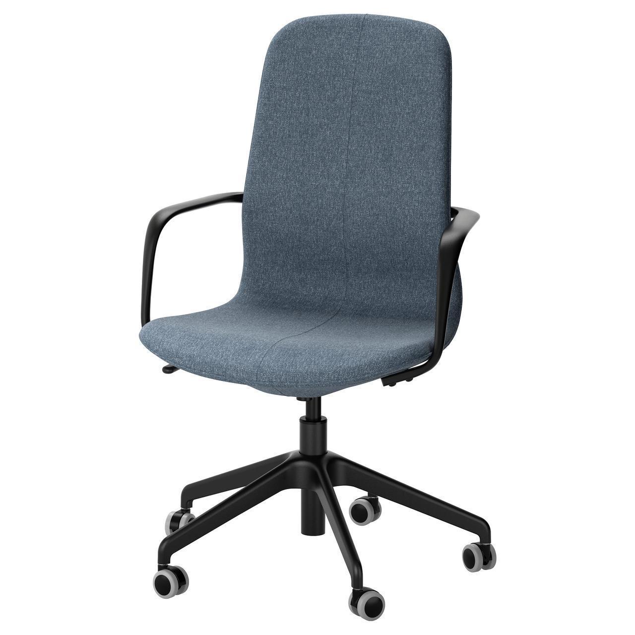 Комп'ютерне крісло IKEA LÅNGFJÄLL Gunnared блакитне чорне 591.780.77