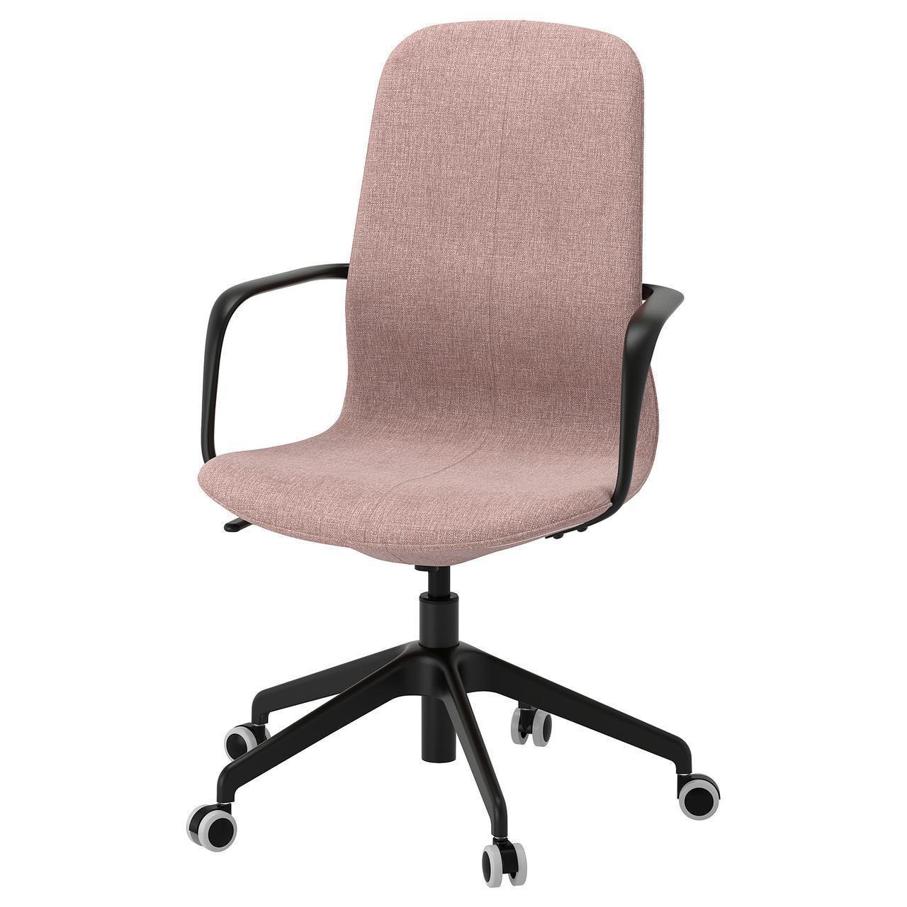 Компьютерное кресло IKEA LÅNGFJÄLL Gunnared светло-розовое черное 392.618.74