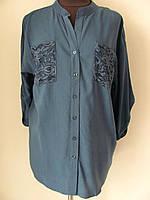 Блуза рубашечного кроя из штапеля с гипюровыми вставками, ботал  (р-р.46,48,52,54)  Код 5039М