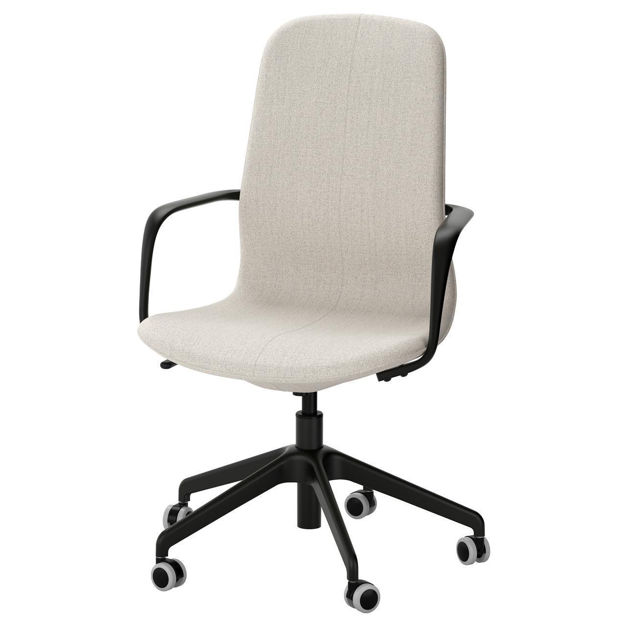 Компьютерное кресло IKEA LÅNGFJÄLL Gunnared бежевое черное 291.780.69