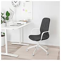 Компьютерное кресло IKEA LÅNGFJÄLL Gunnared темно-серое белое 292.528.65