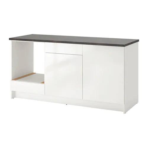 Напольный шкаф с ящиками и дверцами IKEA KNOXHULT 180 см белый глянцевый черный 303.268.08