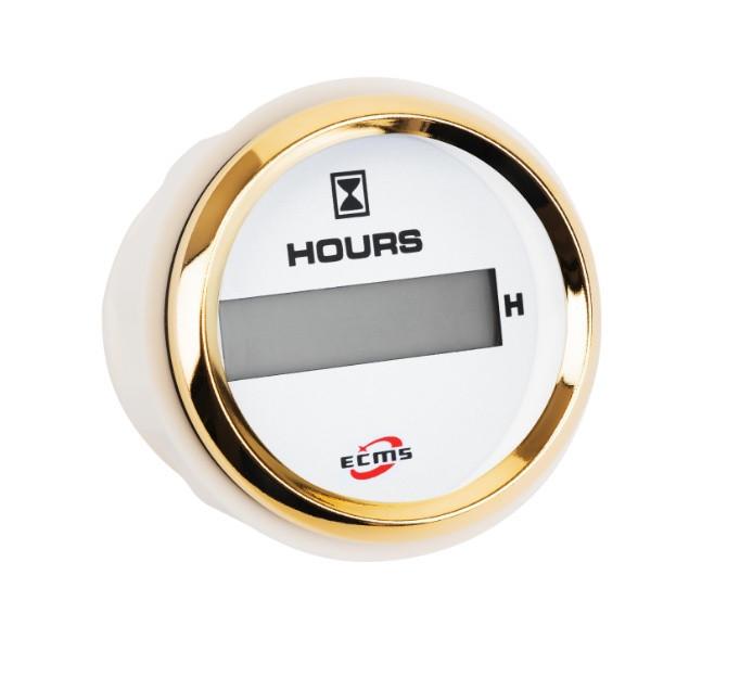 Счетчик моточасов ECMS HLH2-WG-HS диаметр 52мм, рамка — золото, дисплей — белый  802-00132