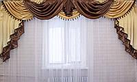 Ламбрекен из атласа ручной выкладки на карниз 3 метра №75 Коричневый