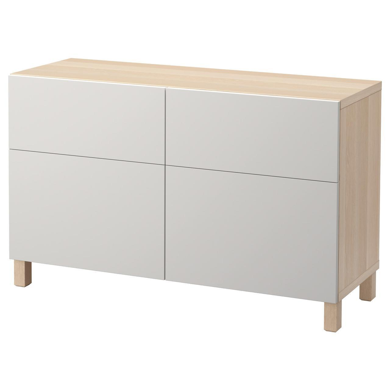 Тумба IKEA BESTÅ 120x40x74 см Lappviken беленый дуб светло-серая 492.049.01