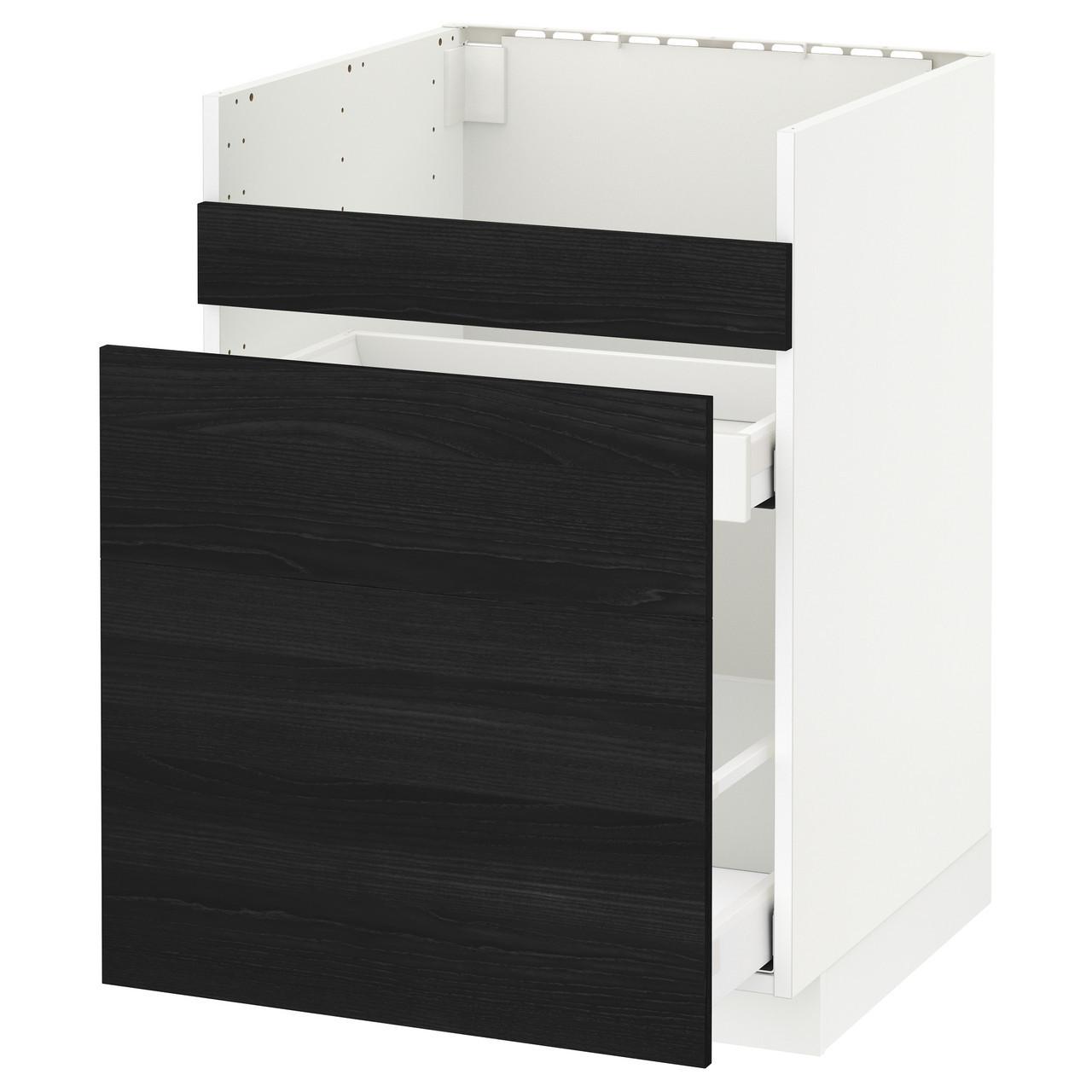Тумба под раковину IKEA METOD HAVSEN Maximera Tingsryd черная белая 492.804.81