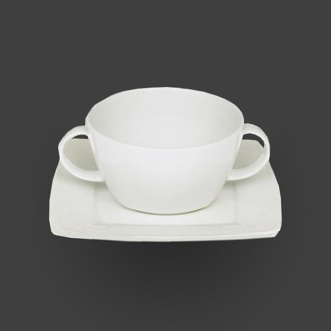 Бульонница круглая + блюдце квадрат, белый фарфор Lubiana Victoria 400 мл (2740)
