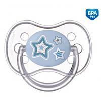 Пустышка силиконовая симметрическая Newborn baby 6-18 месяцев - голубой 22/581