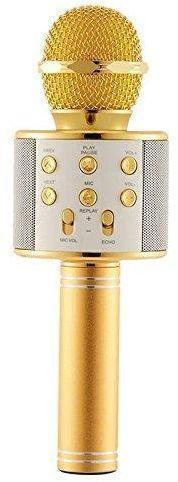 Беспроводной +блютуз микрофон караоке 858 bluetooth Золотой