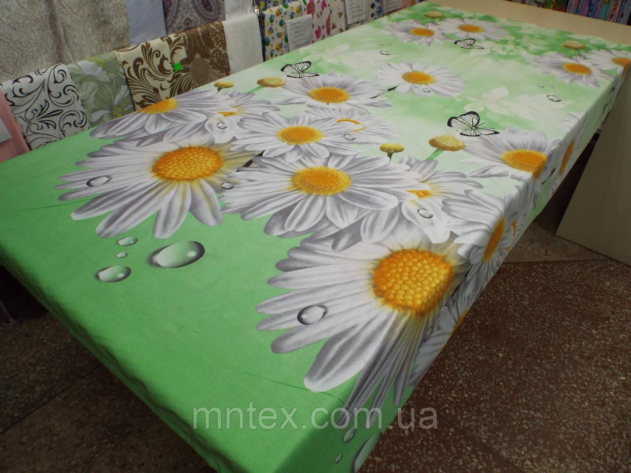 Ткань для пошива постельного белья Ранфорс Ромашки на мятном