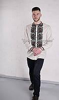 Заготовка чоловічої сорочки для вишивки нитками/бісером БС-140ч білий, домоткане полотно
