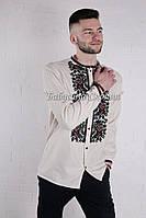 Заготовка чоловічої сорочки для вишивки нитками/бісером БС-140ч бежево-сірий, домоткане полотно