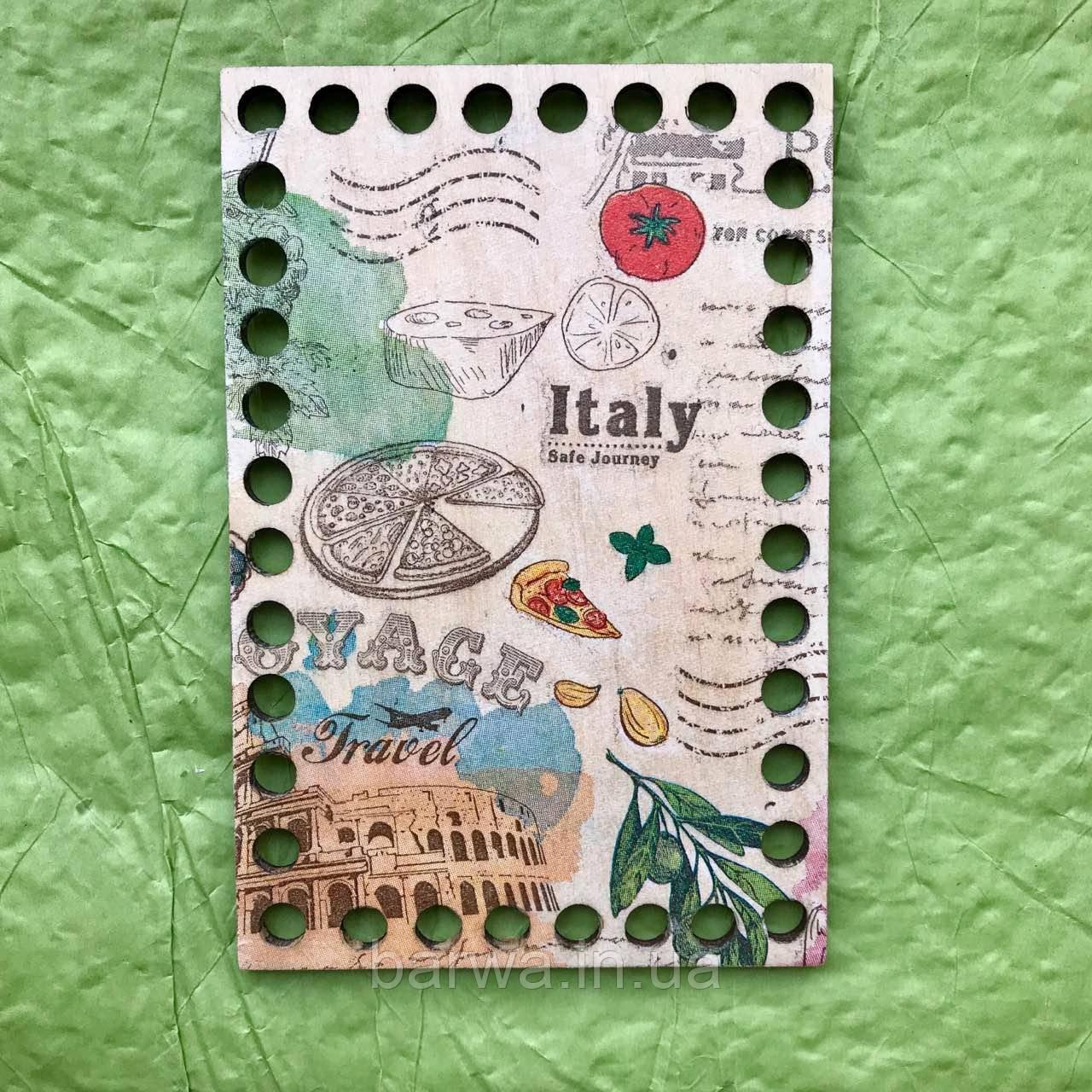 Прямоугольное цветное дно, Италия, 10*15 см