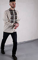 Заготовка чоловічої сорочки для вишивки нитками/бісером БС-140ч білий, атлас