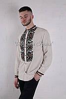 Заготівля чоловічої сорочки для вишивки нитками/бісером БС-140ч білий, габардин