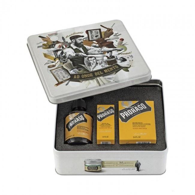 Набір для бороди в металевій коробці ( шампунь, бальзам і масло) Wood&Spice Proraso
