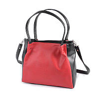 Красная сумка М166-68/47 с длинными ручками на плечо черные вставки