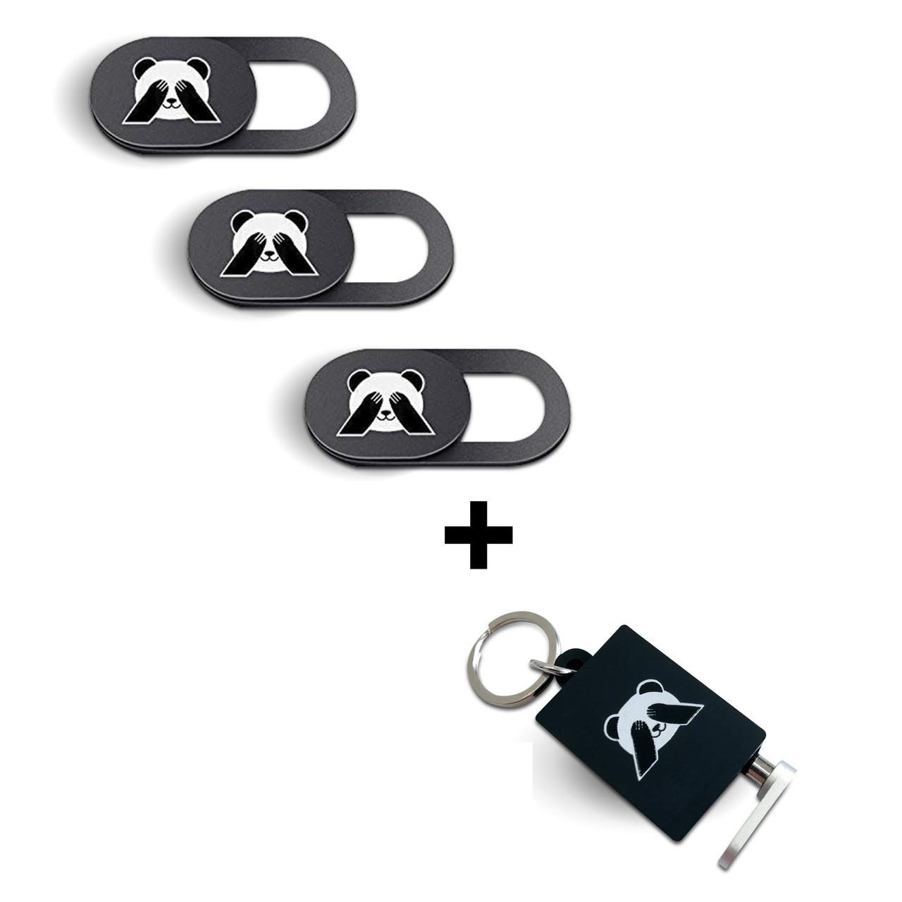 Комплект - Заглушка для микрофона от прослушивания и защитные шторки три(панда) для веб камеры