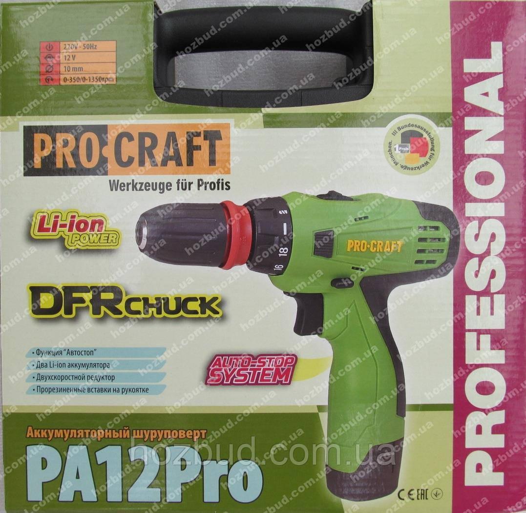 Шуруповерт Procraft PA12Pro (съемный патрон)