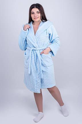 / Размер 44,46,48,50,52 / Женский махровый халат Венди , короткий мягкий / цвет голубой, фото 2