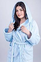 / Размер 44,46,48,50,52 / Женский махровый халат Венди , короткий мягкий / цвет голубой, фото 3