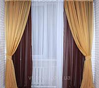 Комплект декоративных портьер из шифона с подхватами, цвет коричневый с янтарный 005дк