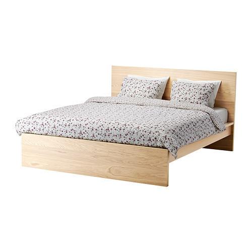 Каркас кровати IKEA MALM 180x200см высокий дубовый шпон беленый 990.225.50