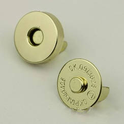 Магнит наружный для сумки 65-101-19, круглый d19 мм, цв. золото