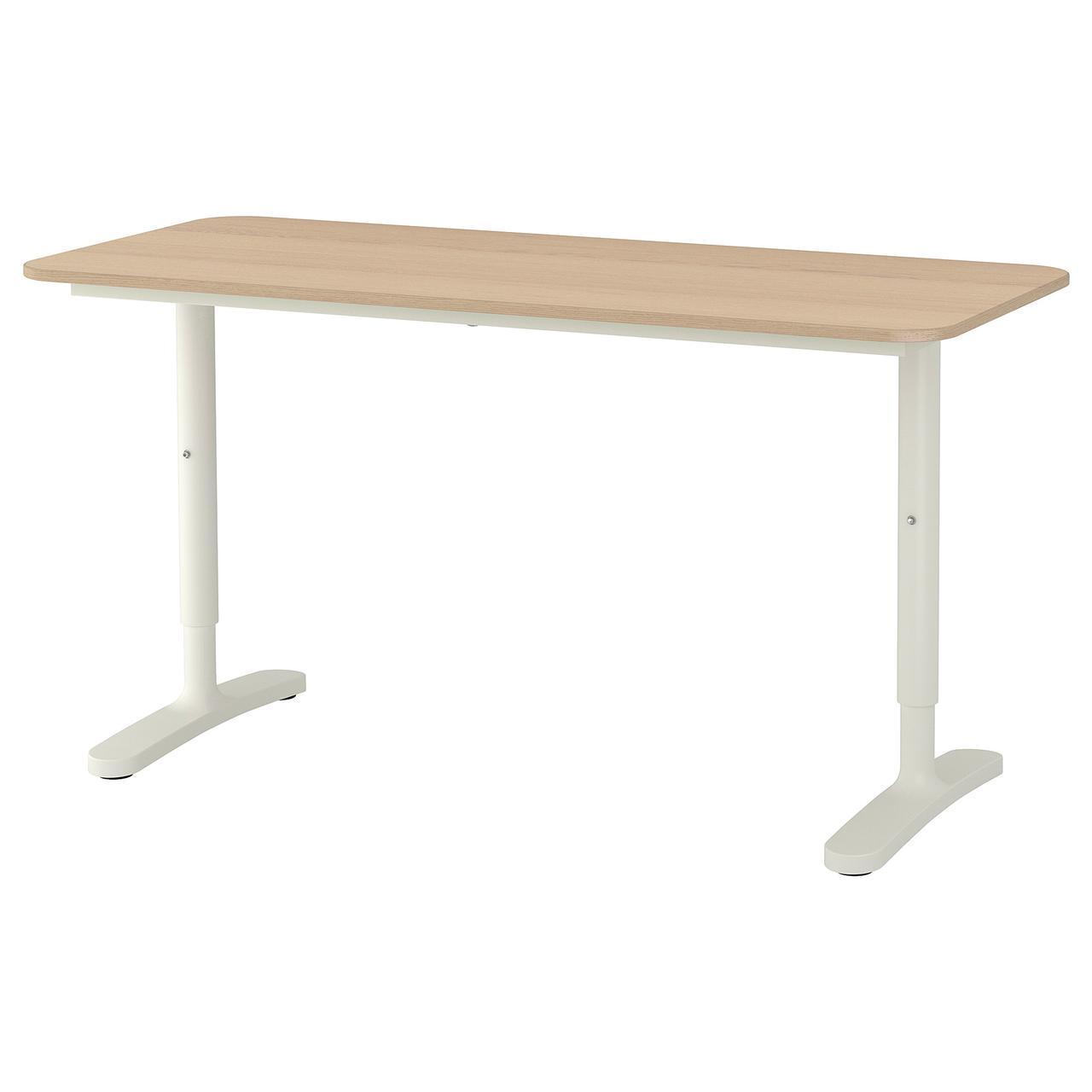 Комп'ютерний стіл IKEA BEKANT 140x60 см дубовий шпон білий 492.826.68