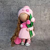 """Интерьерная кукла """"Девочка с тюльпанами"""""""