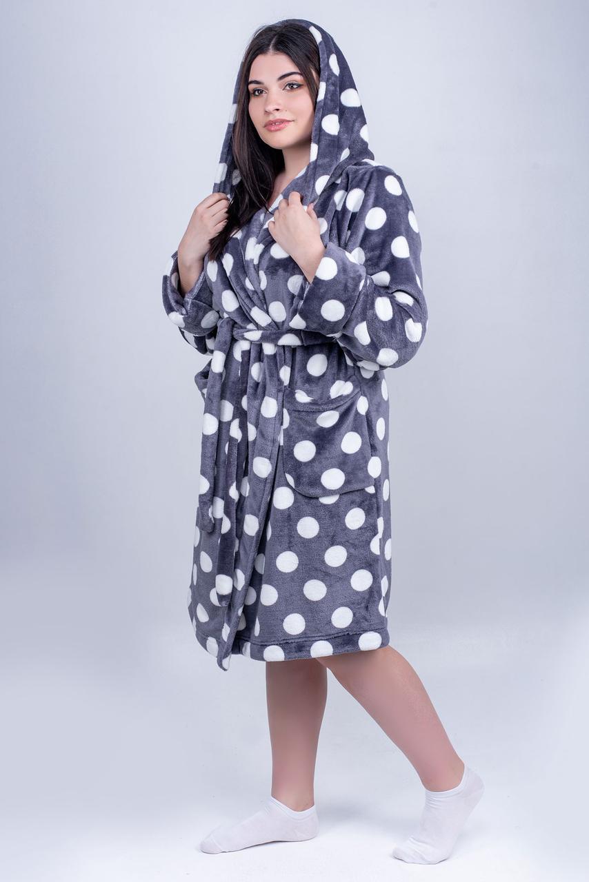 / Размер 44,46,48,50,52 / Женский махровый халат Моника, короткий, пушистый,с удобным капюшоном