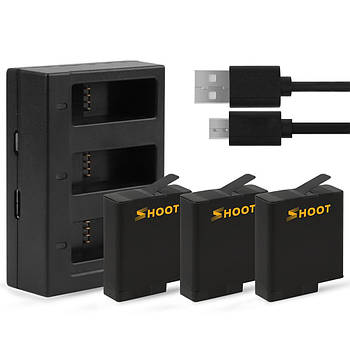 Набор SHOOT: Зарядное устройство на три места + три аккумулятора для GoPro HERO5/6/7 Black, Hero 2018