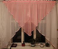 Кухонная занавесь №09 Цвет розовый с белым