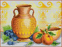 """Схема для вышивки бисером на габардине """"Греческая ваза"""""""