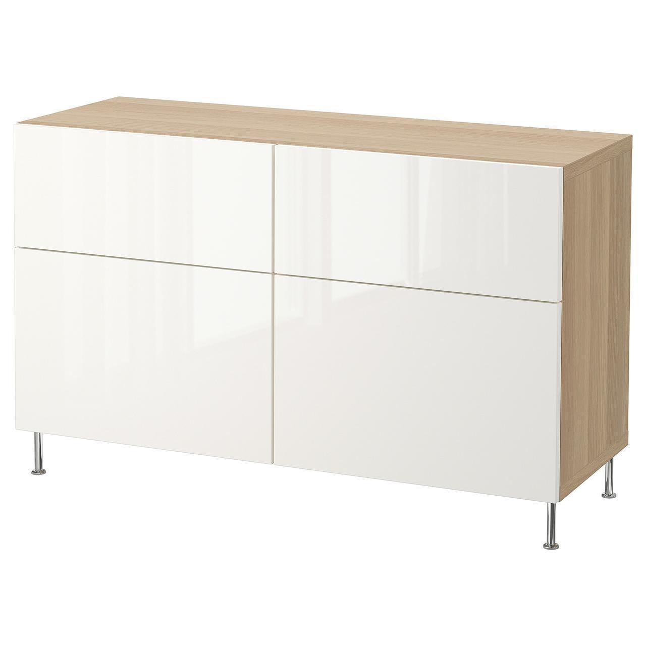 Тумба IKEA BESTÅ 120x40x74 см Selsviken/Stallarp беленый дуб белая глянцевая 792.684.49