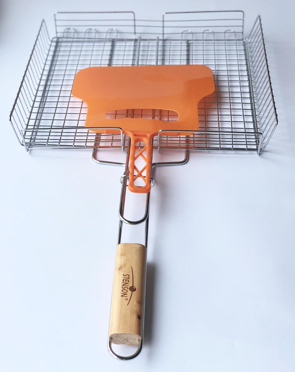 Решетка для гриля на мангал из нерважейки (36*32 см) + веер
