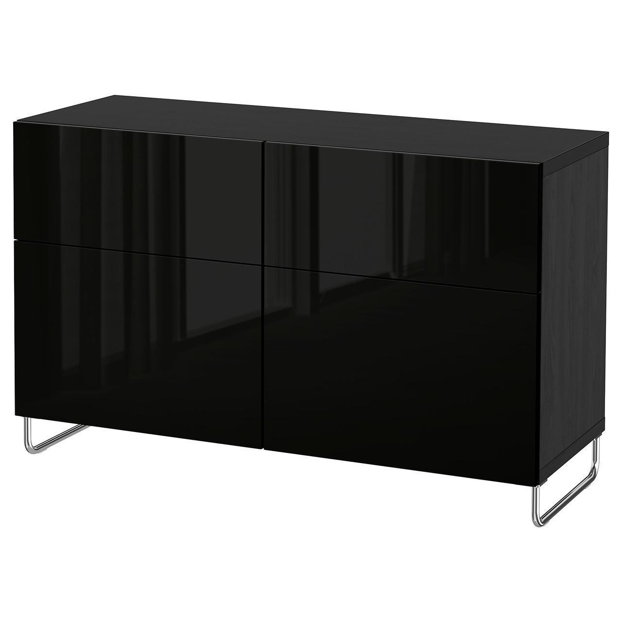 Тумба IKEA BESTÅ 120x40x74 см Selsviken/Sularp черно-коричневая глянцевая черная 692.685.34