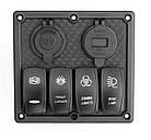 Панель переключения на 4 кнопки с 4.2A USB Вольтметр и прикуриватель под карбон, фото 2