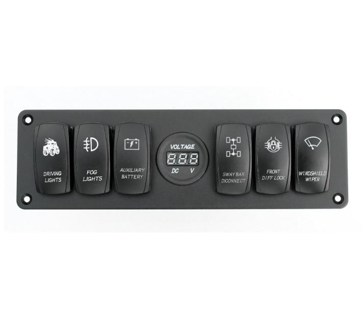 Панель переключения на 6 кнопок с вольметром
