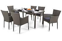 Комплект меблів з техноротангу FLORES 6+1 сірий