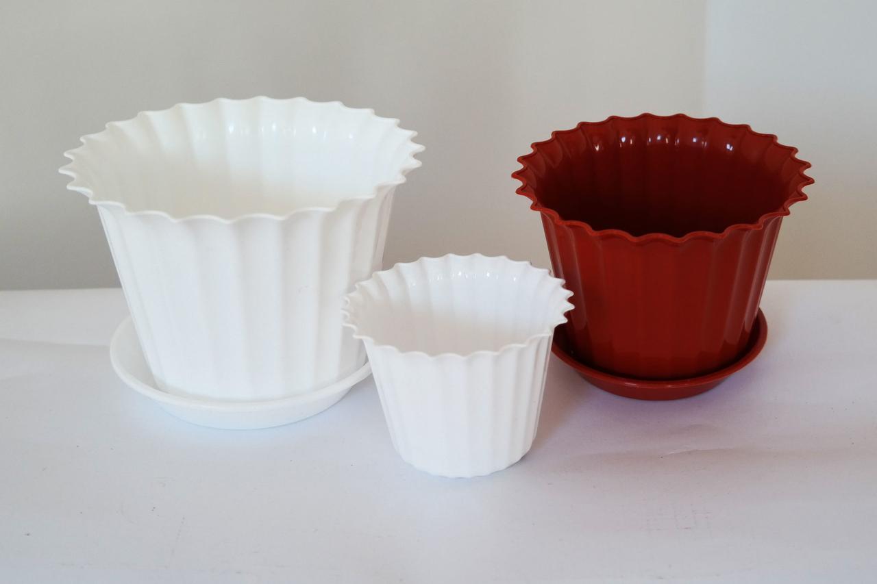 """Кашпо квіткове пластик,""""Астра"""",  23см, (БІЛИЙ), ММ"""