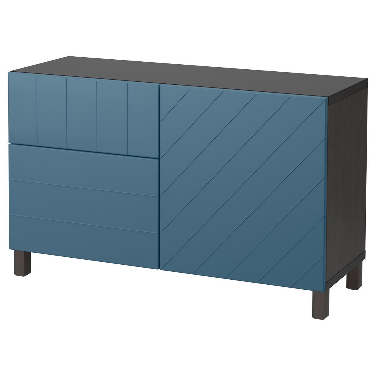 Тумба IKEA BESTÅ 120x40x74 см Hallstavik черно-коричневая темно-синяя 092.191.98