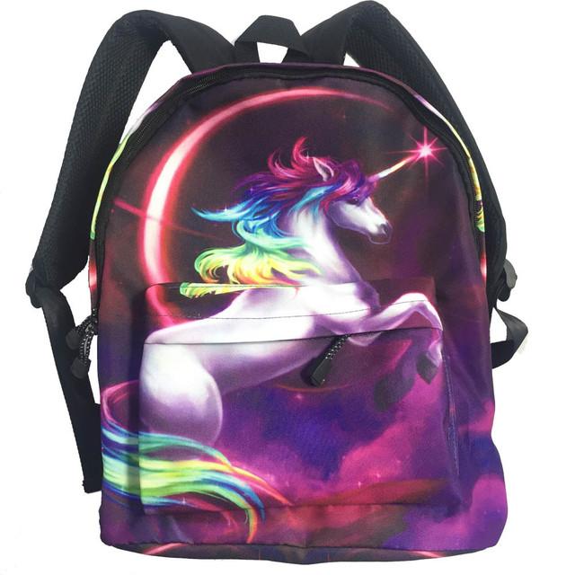 Рюкзак единорог с радужной гривой и чернойспинкой