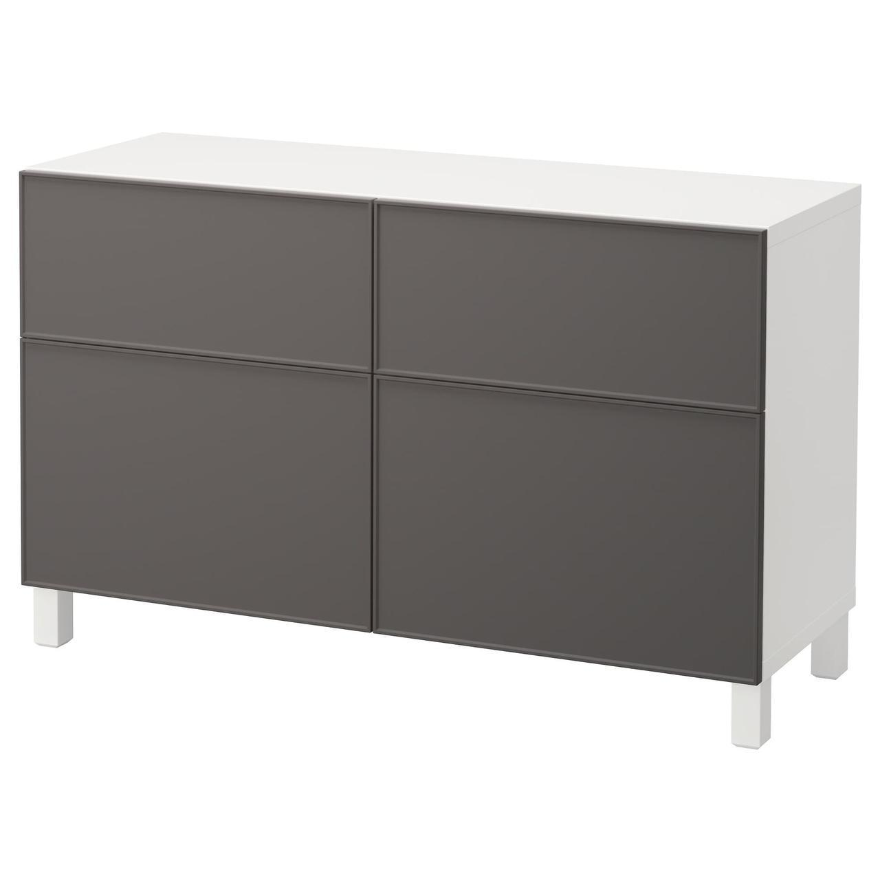 Тумба IKEA BESTÅ 120x40x74 см Grundsviken белая темно-серая 292.060.67