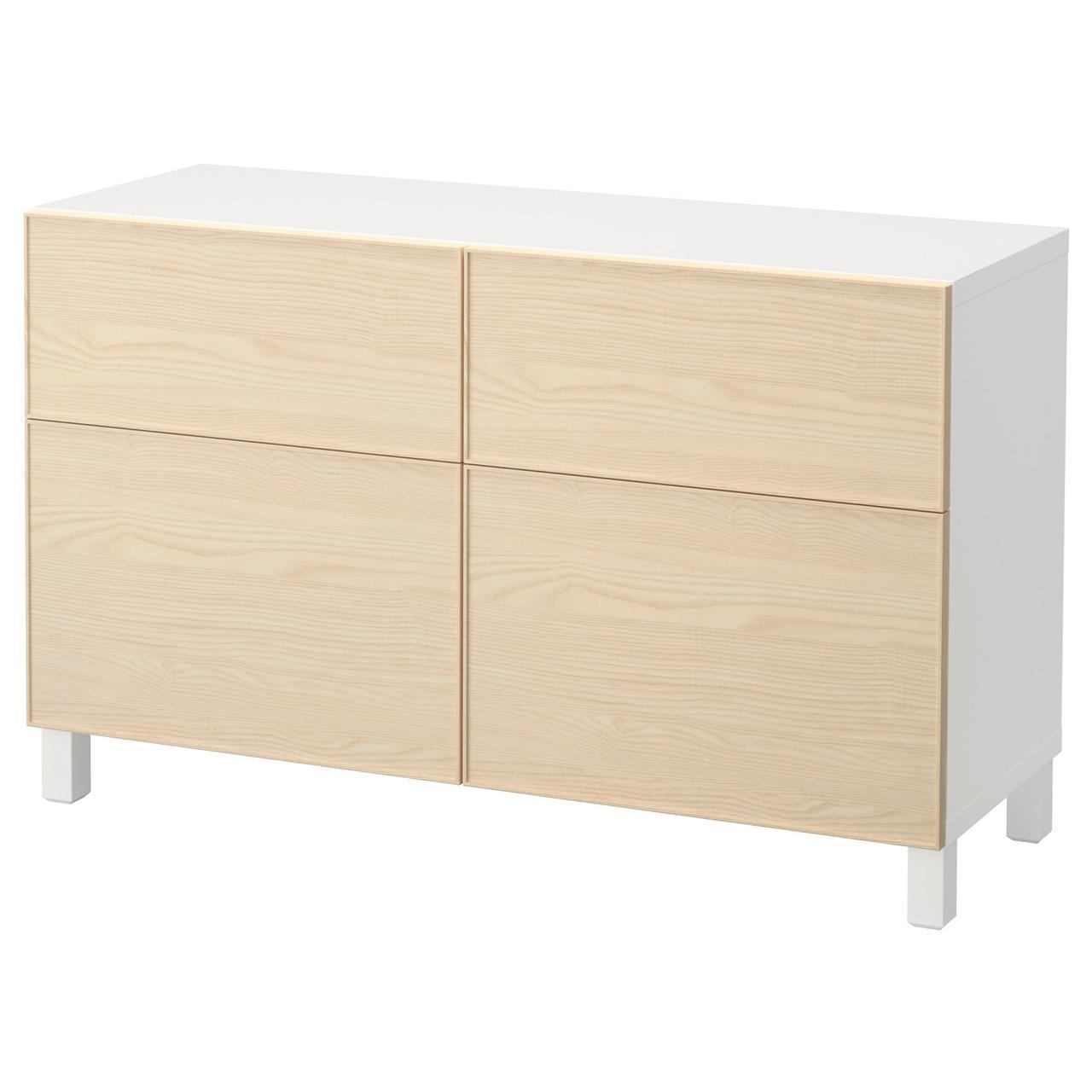 Тумба IKEA BESTÅ 120x40x74 см Inviken ясеневый шпон белая 892.061.06