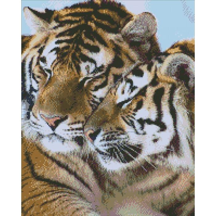 Алмазная вышивка Тигры,  40х50 см