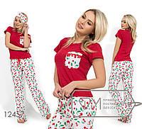 Пижама с вискозной футболкой и брюками из штапеля (повязка в коплекте) 12457
