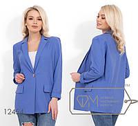 Льняной удлиненный пиджак с плечиками, без подклада 12454