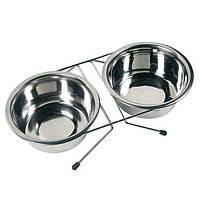 Двойная миска на подставке для собак, нержавейка (2х750 мл.) Karlie-Flamingo™